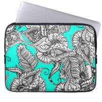 Boho black white hand drawn floral doodles pattern laptop sleeve