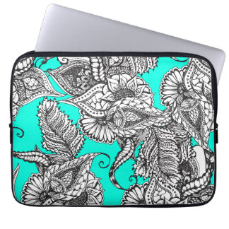 Boho black white hand drawn floral doodles pattern laptop sleeve