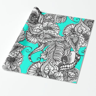 Boho black white hand drawn floral doodles pattern wrapping paper