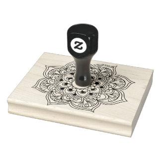 Boho black white mandala floral ornament coloring rubber stamp