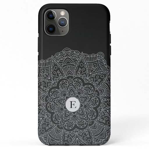 Boho Black White Mandala Monogram Case-Mate iPhone