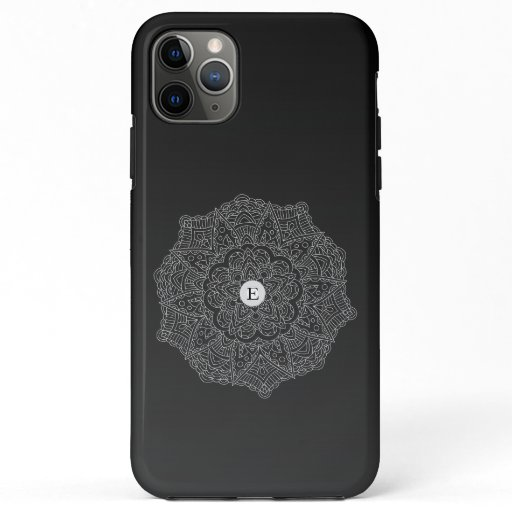 Boho Black White Mandala Monogram iPhone 11 Pro Max Case