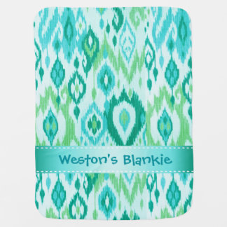 Boho Blankie aqua mint blue Ikat Tapestry Receiving Blankets