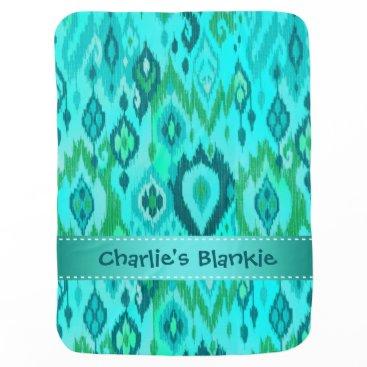 Aztec Themed Boho Blankie aqua turquoise blue Ikat Tapestry Swaddle Blanket