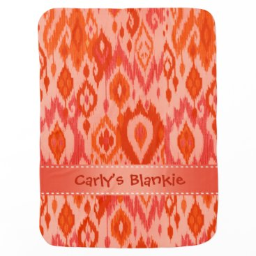 Aztec Themed Boho Blankie coral peach Ikat Tribal Tapestry Receiving Blanket