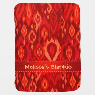 Boho Blankie red burgundy peach Ikat Tapestry Receiving Blanket