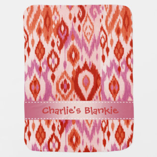 Boho Blankie rust orchid lilac Ikat Tapestry Swaddle Blanket