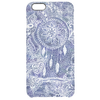 Boho blue dreamcatcher feathers floral doodles clear iPhone 6 plus case