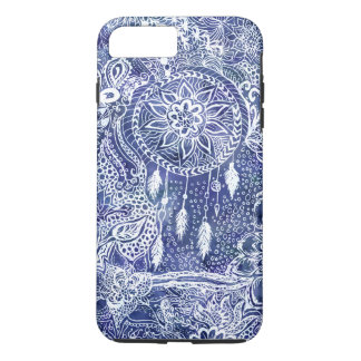 Boho blue dreamcatcher feathers floral doodles iPhone 8 plus/7 plus case