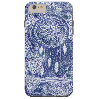 Boho blue dreamcatcher feathers floral doodles tough iPhone 6 plus case