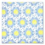 Boho blue henna mandala yellow sun pattern photo print