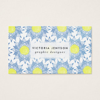 Boho blue henna mandala yellow sun patterns business card