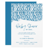 Boho Blue Ikat Baby Shower by Mail Invitation
