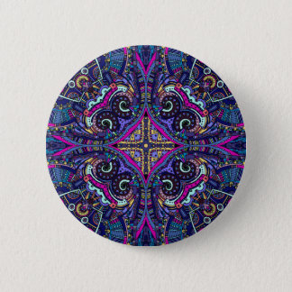 Boho blue kaleidoscope native american trend button