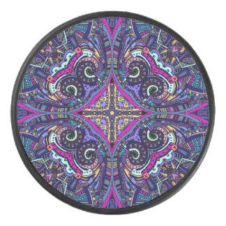 Boho blue kaleidoscope native american trend hockey puck