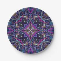 Boho blue kaleidoscope native american trend paper plate