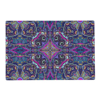 Boho blue kaleidoscope native american trend placemat