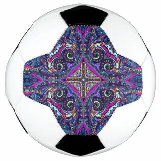 Boho blue kaleidoscope native american trend soccer ball