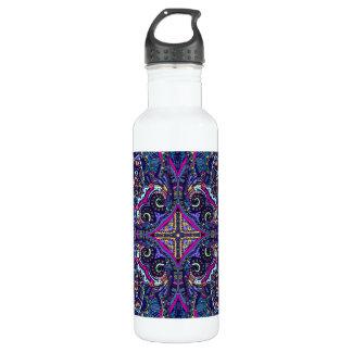Boho blue kaleidoscope native american trend water bottle