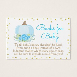Boho Blue Pumpkin Baby Shower Bring a Book Card