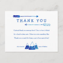 Boho Blue Thank You Card for Adventure Baby Shower