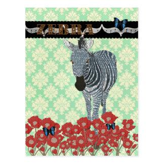 Boho Blue Zeb & Butterflies Mint Julep Damask  Pos Postcard