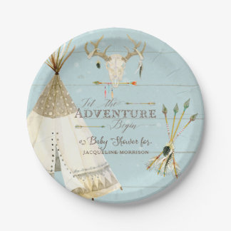 BOHO BlueTeepee Arrows Deer Antler Baby Boy Shower Paper Plate
