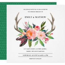 BOHO BLUSH ANTLER FLORAL FEATHER COUNTRY WEDDING INVITATION