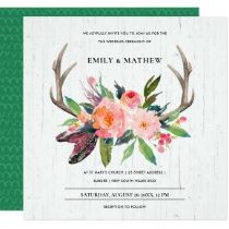 BOHO BLUSH ANTLER FLORAL WOODEN COUNTRY WEDDING INVITATION