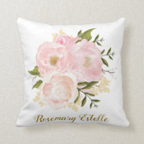 Boho Blush Pink Floral Baby Girl Nursery Decor Throw Pillow