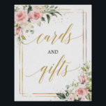 "Boho blush pink floral gold cards and gifts sign<br><div class=""desc"">Boho blush pink floral gold cards and gifts sign,  Contact me for matching items or for customization,  Blush Roses ©</div>"