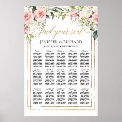 Boho blush pink floral gold wedding seating chart