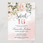 """Boho blush pink floral rose gold sweet sixteen invitation<br><div class=""""desc"""">Boho blush pink floral rose gold sweet sixteen invitation,  Contact me for matching items or for customization,  Blush Roses ©</div>"""