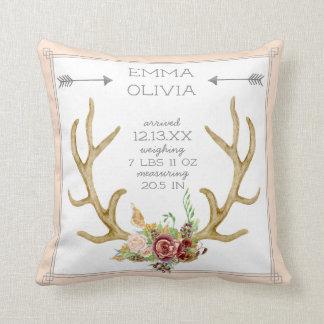BOHO Bohemian Deer Antler Floral Baby Birth Stat Throw Pillow