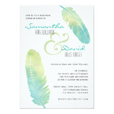 Boho Bohemian Feather Rehearsal Dinner Invitation
