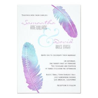 Boho Bohemian Feather Wedding Purple and Blue Card