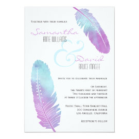 Boho Bohemian Feather Wedding Purple and Blue Card