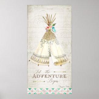 Boho Bohemian Let the Adventure Begin Teepee Wood Poster