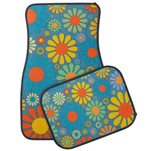 Boho Bohemian Retro Colorful Floral Flowers Car Mat