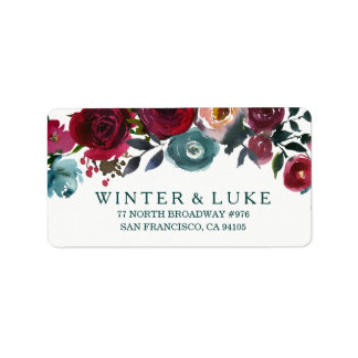 Boho Bordo Burgundy Red Flowers Wedding Address Label