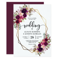 Boho bordo geometric wedding invitation