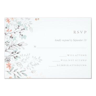 Customize_My_Wedding Boho Botanical Rustic Wedding Coral and Gray RSVP Card