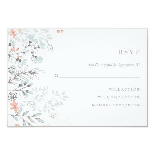 Boho Botanical Rustic Wedding Coral and Gray RSVP Card