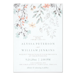 Boho Botanical Rustic Wedding In Coral And Gray Card
