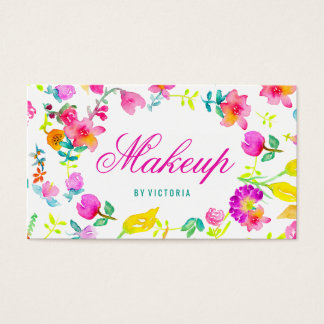 Boho bouquet floral watercolor makeup artist business card