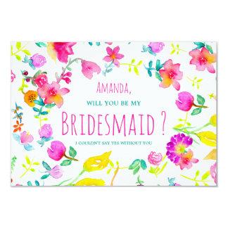 Boho bouquet floral watercolor wreath bridesmaid card