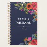"Boho Bouquets - Navy Blue &amp; Coral - Name Planner<br><div class=""desc"">Spiral planner printed with arrangements of hand-drawn flowers in orange,  coral red,  hot pink,  and white. Add your name and the year in white letters.</div>"