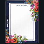 """Boho Bouquets - Navy Blue - Name Dry-Erase Board<br><div class=""""desc"""">Dry-erase board printed with arrangements of hand-drawn flowers in orange,  coral red,  hot pink,  and blue. Add your name in navy blue letters.</div>"""