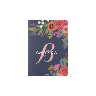 Boho Bouquets - Navy Blue & Pink Monogram Passport Holder