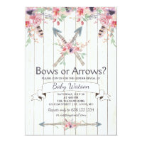 Boho Bows or Arrows Gender Reveal Party Invitation